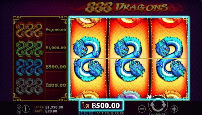 รูปแบบการของการด้ายเงินของเกมสล็อต 888 Dragons